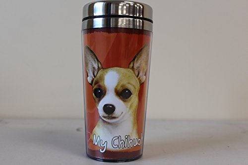 Breed Stainless Steel Travel Mug - E&S Pets Stainless Steel Chihuahua Tan Tumbler, 16 oz