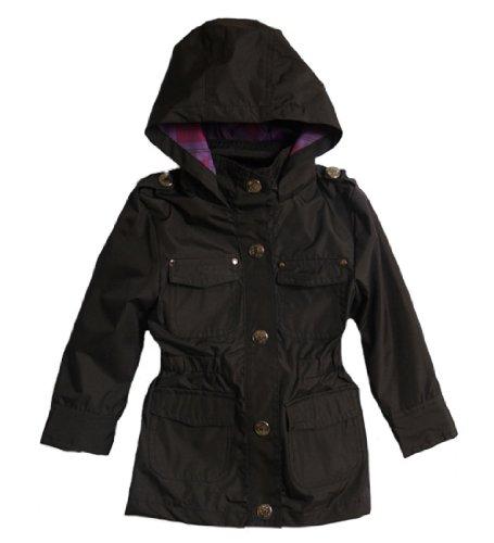 Pink Platinum Little Girls' Hooded All-Weather Lined Black Safari Jacket