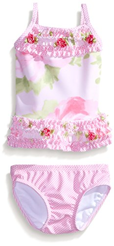 Kate Mack Girls' Newborn Garden Sweets Floral Tankini, Pink, 6 Months - Kate Nylon Tankini Mack