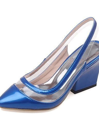 ShangYi Women's Shoes Chunky Heel Pointed Toe Sandals Dress Black / Blue / Purple / Red Blue NQ9cTUB1Pp