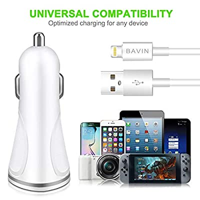 Car Charger 2.4A/12W,2 USB Smart Port Charger with Braided Charging Cable Compatible for iPhone X/8/8 Plus/7/7 Plus/6S/6S Plus/5S/5C/SE/iPad … (White): Electronics