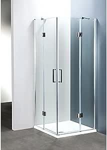 Mampara de Baño 60 X 100 cm, Diseño de Esquina Ponsi Serie Platinum Rectangular Transparente con Puerta Batiente Cristal: Amazon.es: Hogar