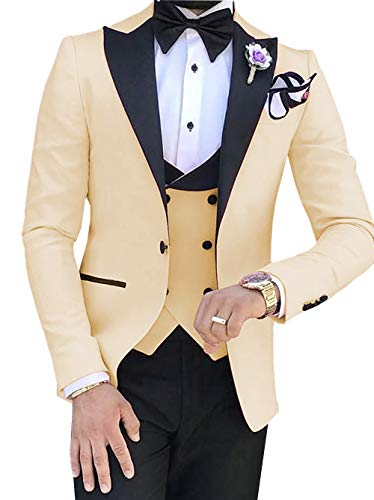Aesido Casual Men's Suits Slim Fit 3 Piece Notch Lapel Prom Tuxedos Groomsmen for Wedding (Blazer+Vest+Pants)(Champagne,34US) ()