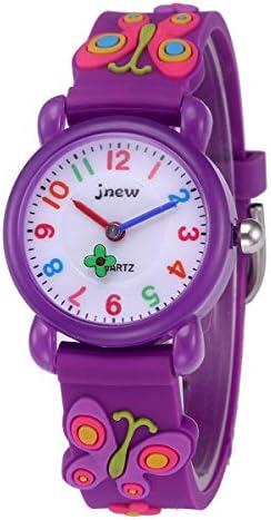 キッズ防水腕時計 幼児用 3D 可愛い アニメ アナログ 腕時計 男の子 女の子用 パープル 蝶