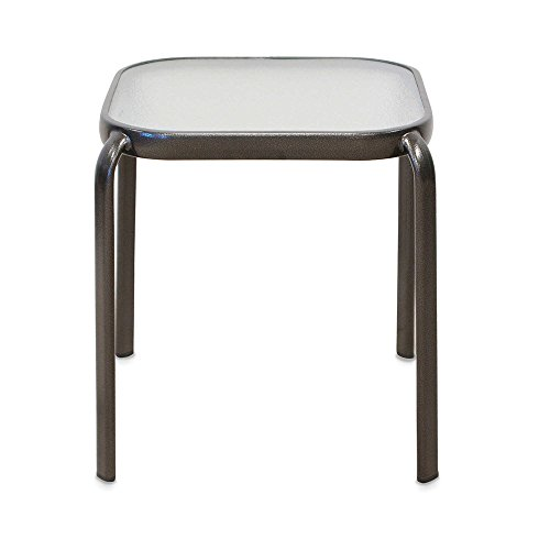 Outdoor Glass Top Accent Table - Lightweight, Sturdy, Stackable, Best Quality Guaranteed (Outdoor Accents)