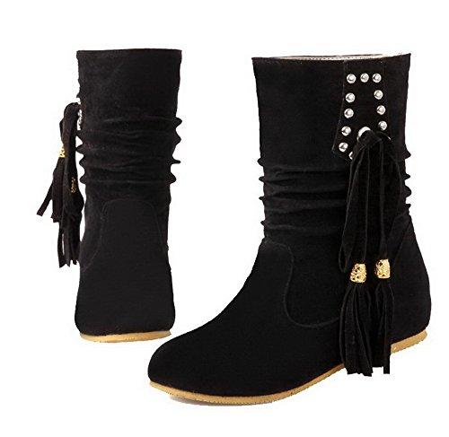AgeeMi Shoes Mujeres Sin Cordones Tacón Medio Suede Caña Media Botas EuX129 Negro