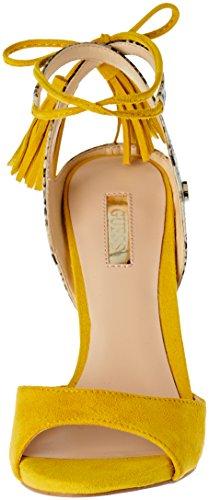 Guess Amee, Sandalias de Tacón para Mujer Amarillo