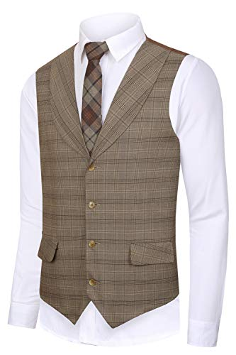Hanayome Men's 2017 Top Designed Casual Formal Suit Vest Slim Fit Dress Waistcoat,Light Brown,XL(US Tag Chest 48