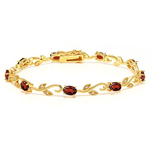 Gem Stone King 18K Yellow Gold Plated Silver 4.63 Ct Oval Garnet Diamond Greek Vine 7 Inch ()