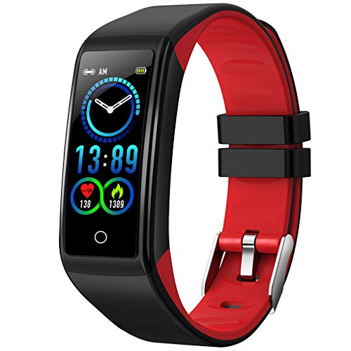 Fitness Sports Smart Watch Support Android iOS,Silica Gel Band Smart Calorie Wristband Heart Rate Blood Pressure Monitor Pedometer (Red) ()
