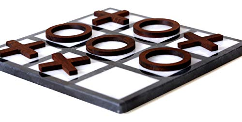 RADICALn Tic Tac Toe Board Games 8 Inches Mini Black and White Handmade Marble Board with Wooden Pieces tictactoe Coffee Play Table Game - Non Magnetic - Multiplayer Tactile Tic Tac Toe Desk Game