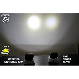 "#1 2x 4"" Arsenal Offroad TM 18W 6 CREE LED Brightest on the Market! SUV Off-road Boat Headlight Spot Driving Fog Light + Mounting Bracket FREE WIRE HARNESS!"