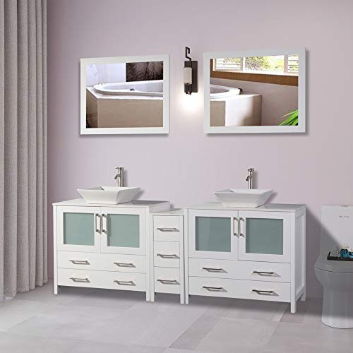 Vanity Art 84 inch Double Sink Bathroom Vanity Combo Set 7-Drawers, 2-Shelf, -