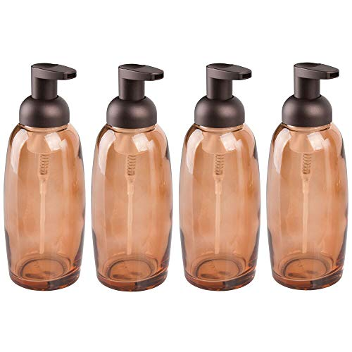 mDesign Modern Glass Refillable Foaming Soap Dispenser Pump Bottle for Bathroom Vanity Countertop, Kitchen Sink - Save on Soap - Vintage-Inspired, Compact Design - 4 Pack - Sand Brown/Bronze