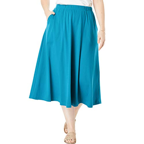 Woman Within Women's Plus Size 7-Day Knit A-Line Skirt - Laguna Blue, L