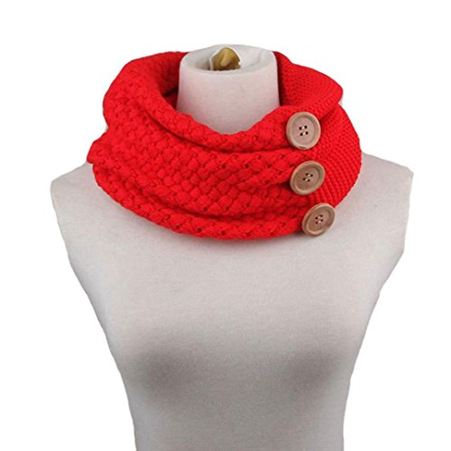 Usstore Winter Warm Two Circle Cable Knit Cowl Neck Scarf (Red)