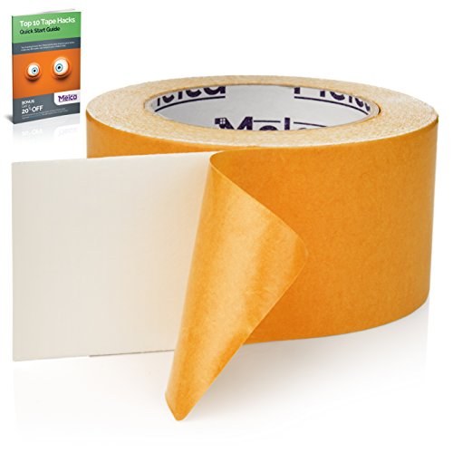 Melca Double Sided Carpet Tape - 2.5 Inch Heavy Duty Rug Gripper Anti Slip Adhesive (30 Yards)