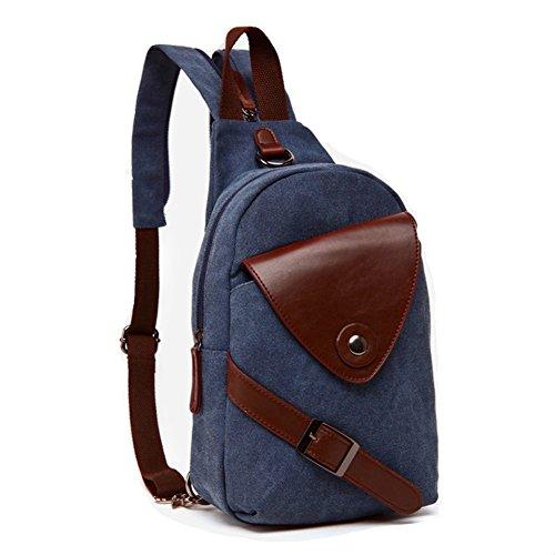 Drf Vintage Canvas Small Backpack Rucksack Shoulder Bag Fit Ipad Bg 01  Blue