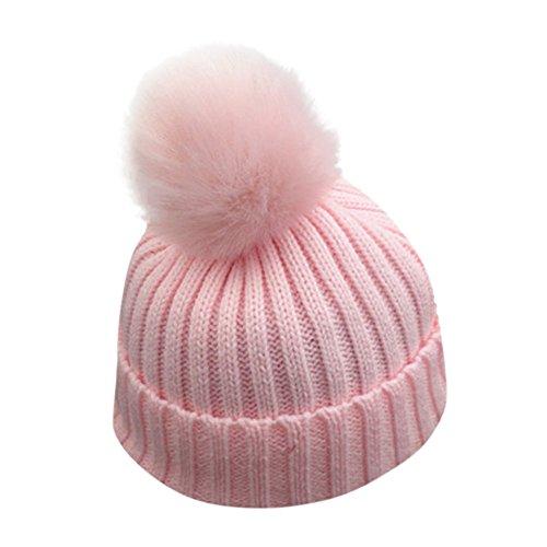ZTY66 Baby Winter Warm Knit Hat Infant Toddler Kid Crochet Hairball Beanie Cap (Pink)]()