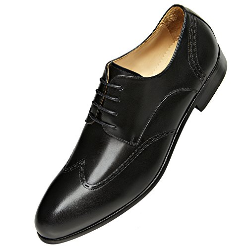 GIFENNSE Mens Lace Up Oxford Dress Classic Shoes Black