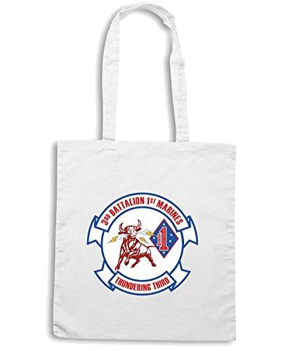 T-Shirtshock - Bolsa para la compra TM0333 3rd Battalion 1st Marine Regiment USMC usa Blanco