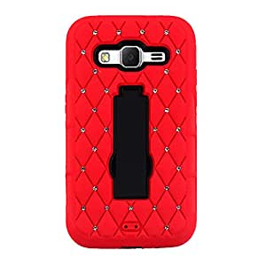 CP 2-In-1 Hard Hybrid Silicone Case for Samsung Galaxy Core Prime/G360 - Non-Retail Packaging - Red/Black