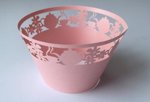 12 pcs Teacup & Kettle Cupcake Wrappers Wrapper for Standard Size Cupcake Liners (Choose Color) (Blush Pink)