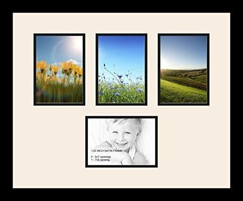 ArtToFrames Collage Photo Frame Double Mat with 4 - 5x7 Openings and Satin Black Frame