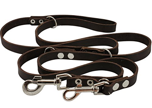 Dogs My Love Brown 6 Way European Multifunctional Leather Dog Leash, Adjustable Schutzhund Lead 49'-94' Long, 3/4' Wide (18 mm) Large