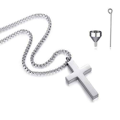 REVEMCN Cross Urn Necklace for Ashes Stainless Steel Cross Pendant Necklace for Men Women 20-24 Inches Chain (Silver Tone (Larger), 24)