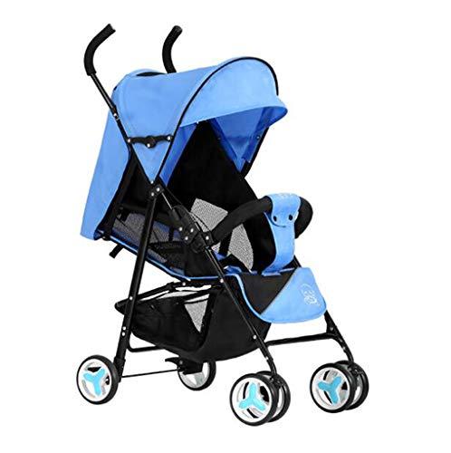 YZ-YUAN Cochecitos De Bebé Sillas De Paseo Ligero Compacto Buggy Plegable Adecuado para Viajar,Blue