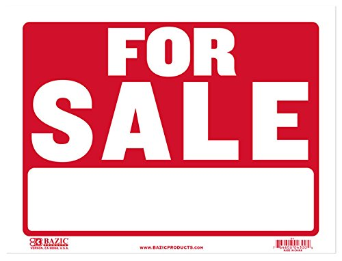 BAZIC 9'' X 12'' for Sale Sign. Retail Sign for Business or Personal Use.