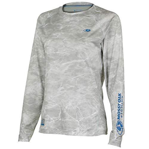 Mossy Oak Women's Long Sleeve Performance Tech Fishing Shirt, Bonefish/Soothing Sea, Large
