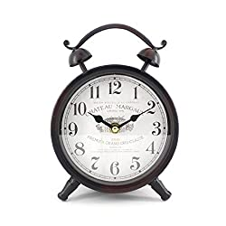 Handcrafted Metal Analog Silent Quartz Desk Clock,8.4x6.4,vintage Rustic Look with Handle,Glass on Front (Black-B)
