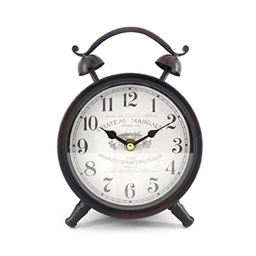 Handcrafted Metal Analog Silent Quartz Desk Clock,8.4''x6.4'',vintage Rustic Look with Handle,Glass on Front (Black-B) by Chaomian Home Ornaments