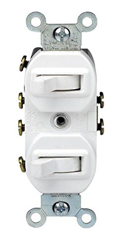 Leviton 5243 15 Amp, 120/277 Volt, Duplex Style Two 3-Way Combination Switch, Commercial Grade, White Double Switch