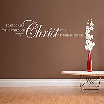 I Can Do All Things Through Christ Who Strengthens Me Vinyl Bilbe Wall Sticker Bible