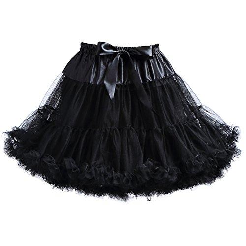 Women's Elastic Waist Chiffon Petticoat Puffy Tutu Tulle Skirt Princess Ballet Dance 50s Pettiskirts -