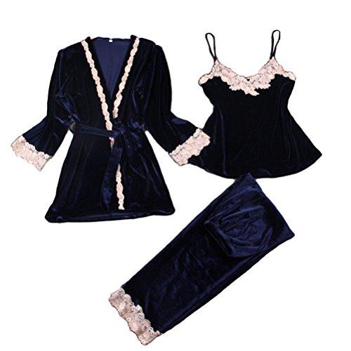 FENICAL 3 Pieces Women Sleepwear Comfort Flannel Sets Lace Camisole Velvet L (Dark Blue)