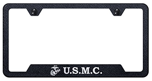 U.S. Marine Corps Rugged Finish Black Stainless Steel License Plate - License Marines Frame Plate
