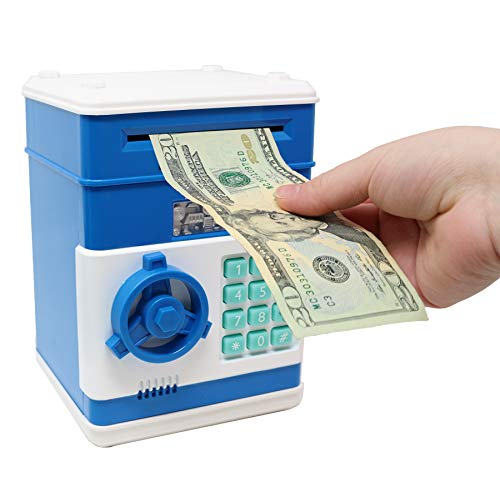 (Smart Novelty Kids Electronic Piggy Bank Safe with Password Mini ATM Bank - Electronic Money Bank with Code for Kids Gifts (Blue) )
