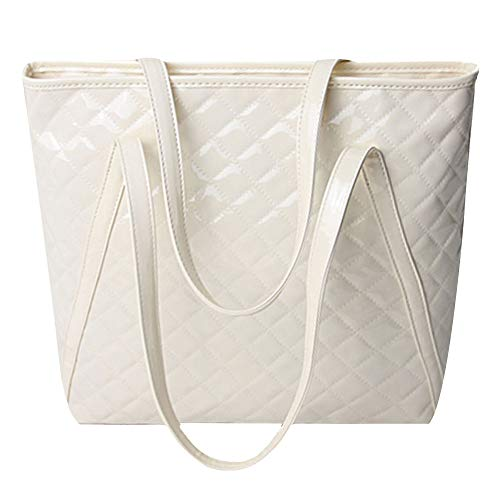 Danse Jupe Women Lattice Tote Handbag Patent Leather Shoulder Bag Glossy Top-handle Purse(Beige)