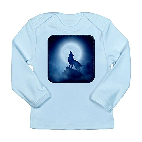 Truly Teague Long Sleeve Infant T-Shirt Howling Wolf in Misty Moonlight - Sky Blue, 3 to 6 Months