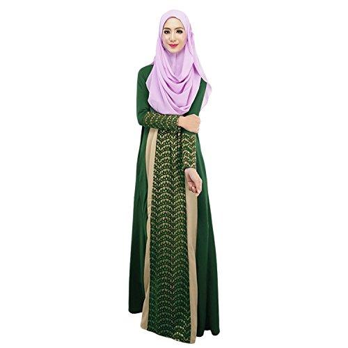 Aro Lora Women's Lace Kaftan Color Block Islamic Abaya Jilbab Muslim Dress Medium Green