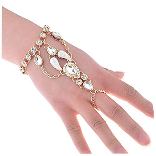 (SUNSCSC Crystal Rhinestone Hand Harness Bangle Chain Link Finger Ring Bracelet Wedding Jewelry for Women (Gold 1 pcs))