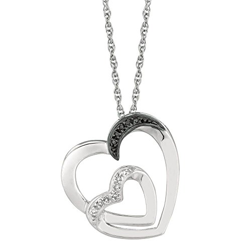 - Sterling Silver 1.1mm Cable Chain 0.03ct Blk White Diamond One Sml One Lrg Open Heart Necklace 18 In