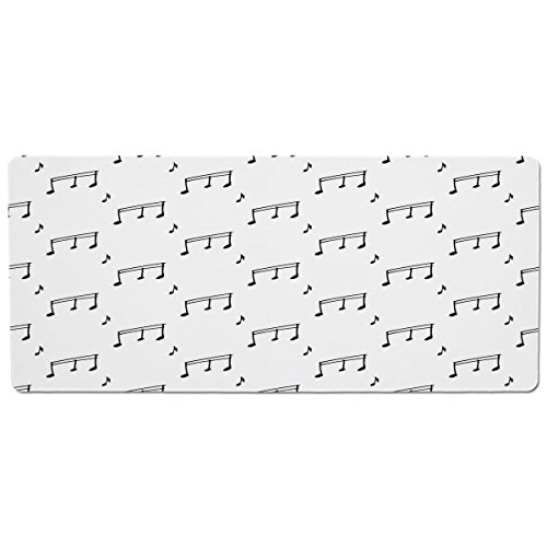 Pet Mat for Food and Water,Music,Musical Notes Themed Melody Sonata Singing Songs Clef Tunes Hand Drawn Style Pattern Print,Black,Rectangle Non-Slip Rubber Mat for Dogs and Cats