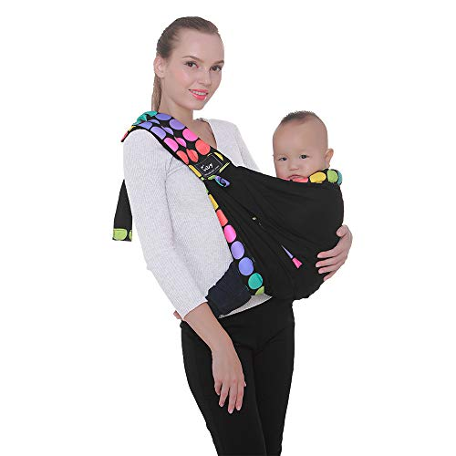Baby Carrier by Cuby, Natural Cotton Baby Sling Baby Holder Extra Comfortable for Easy Wearing Carrying of Newborn, Infant Toddler and Ideal for Baby Registry, Nursing,Breastfeeding (Colored dots)