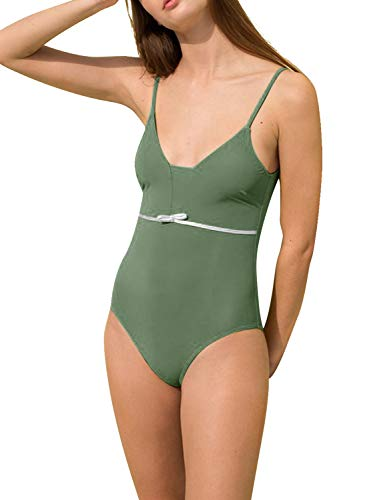 Bra Glamour Sexy Plunge (Blooming Jelly Womens One Piece Swimsuits Bathing Suit V Plunge Low Scoop Back Monokini Swimwear(L,Army Green))