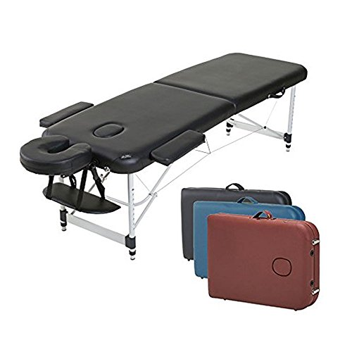 Angel USA Ultra Light Weight Sturdy Aluminum Frame 84″L Portable Massage Table Facial SPA Bed Tattoo w/Free Carry Case, Face Cradle, Arm Rests (Black)